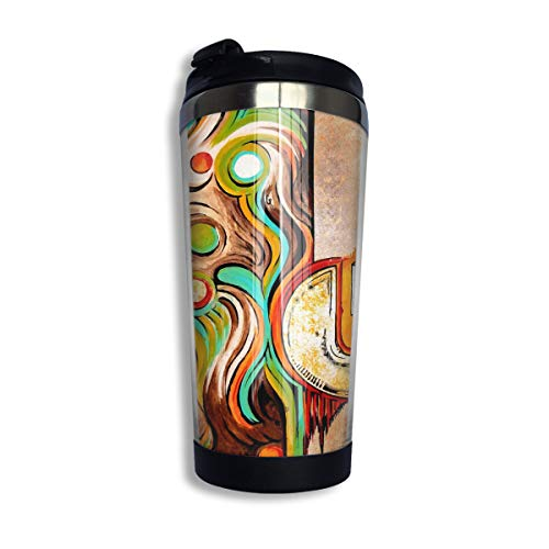 Stainless Steel Coffee Cup Painting Artwork Thermal Coffee Mug with Lid Water Bottle 13.5 Oz