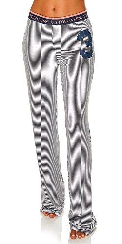 US Polo Assn. Womens Casual Lounge/Sleepwear Patterned Long Pajama Pant Charcoal Small ()