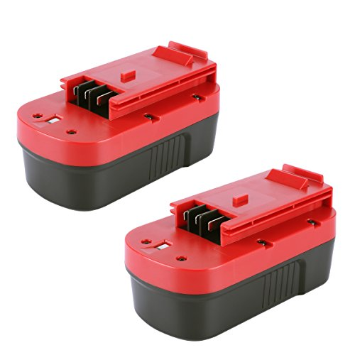 Biswaye 2 Pack 18V 3000mAh NI-CD Battery for Black & Decker HPB18-OPE 18-Volt Slide Pack Battery and 18-Volt Outdoor Cordless Power Tools