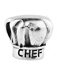 TAOTAOHAS 925 Sterling Silver Charm Beads pendant Chef Hat Fit European bracelets