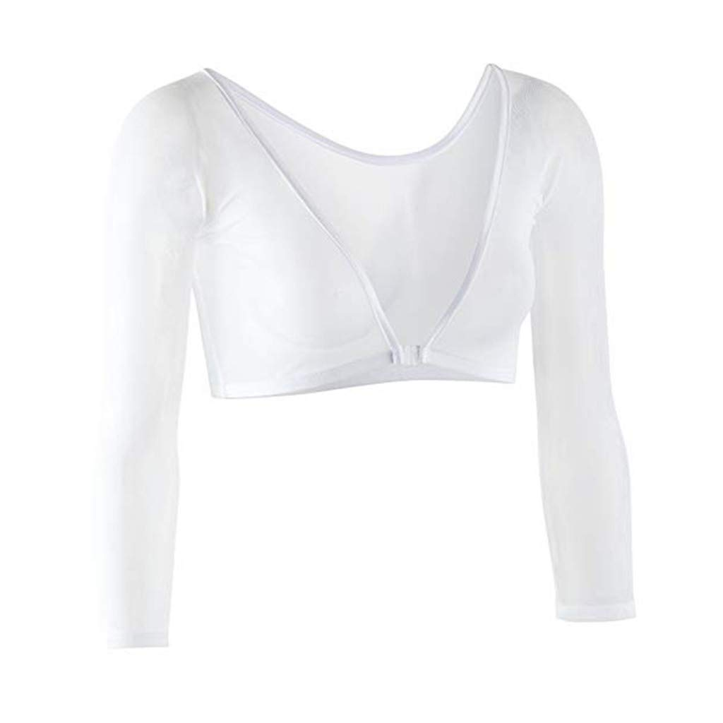 Women's Basic 3/4 Length Slip-on Mesh Sleeves,Crop Jersey Top Plus Size Seamless Arm Shaper Blouse S-2XL White