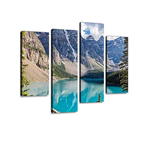 Moraine Lake in The Rocky Mountains, Alberta, Canada Canvas Wall Art Hanging Paintings Modern Artwork Abstract Picture Prints Home Decoration Gift Unique Designed Framed 4 Panel