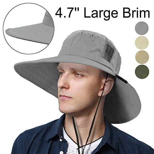 Tirrinia Unisex Outdoor Safari Sun Hat Wide Brim Boonie Cap with Adjustable Drawstring for Camping Hiking Fishing Hunting Boating, Grey