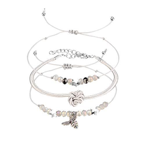 Goddesslili Crystal Multi-Layer Adjustable Bracelet for Women Girlfriend Girls Tassel Vintage Large Wedding Engagement Anniversary Luxury Jewelry Gift Under 5 Dollars