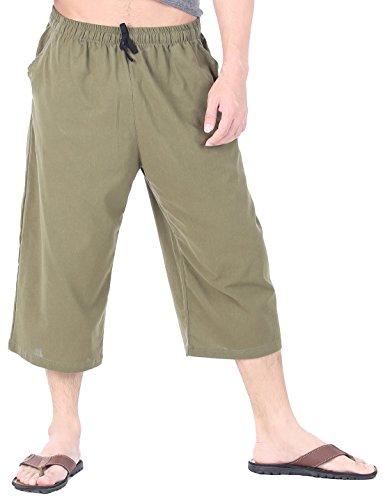 CandyHusky Men's Elastic Waist Cotton Loose Comfort Casual Lounge Capri Pants (M/L, Olive Green)