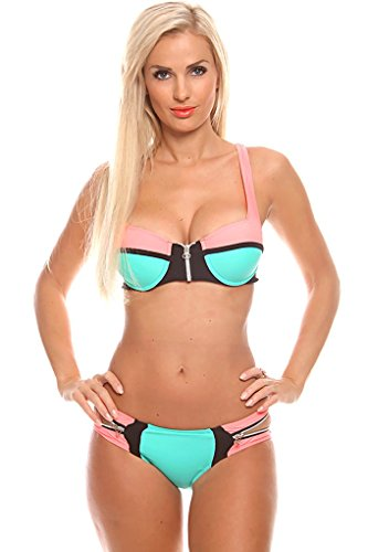 Young Aloud TWO PIECE TWO TONE PLAYFUL SIDE SWIM SUITS M coralmint
