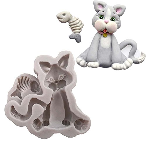 opOpb213IL Silicone Mold DIY Fondant Mould Craft Tool,Kitchen Silicone Mold DIY Cute Cat with Fish Fondant Chocolate Cake Baking Tool - Grey White