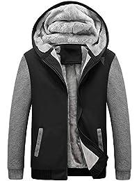 Men's Winter Thicken Fleece Sherpa Lined Zipper Hoodie Sweatshirt Jacket