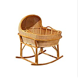 Rattan Baby's Cradle Wooden Bed Rocking Cradle for Newborn Baby Crib Nursery Baby Bed Infant Toddler