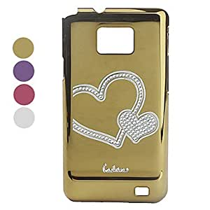 Electroplated Diamond Heart Design Protective Back Case for Samsung i9100 , Black