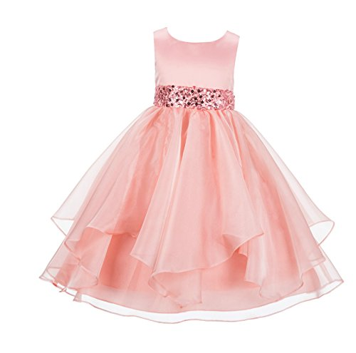 (ekidsbridal Asymmetric Ruffled Organza Sequin Flower Girl Dress Toddler Girl Dresses 012S 2 Peach)