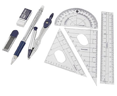Homespun Set 8 In 1 Protractor Compass 15 Cm Straight Ruler Set With Case Measurement Office School Tools Layout Design (4 Set)