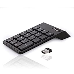 USB Numeric Keypad, BonyTek 19 Keys Numpad, USB Wireless Number Pad with 2.4G Mini USB Numeric Receiver for Laptop Desktop PC Notebook (Upgraded Version) - Black