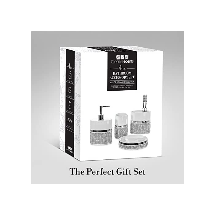 4 Piece Bathroom Accessory Set - Gift Package - Soap Dish
