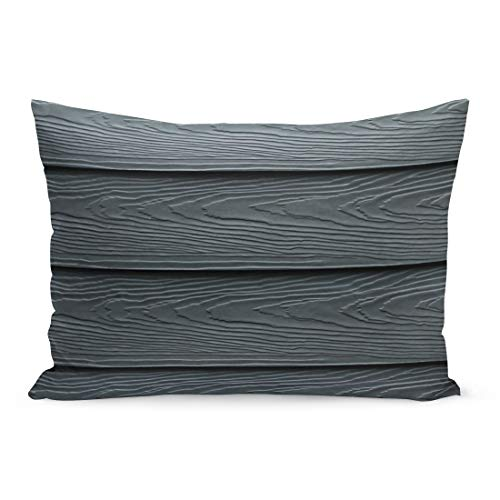 Semtomn Throw Pillow Covers Beautiful Wood Plank and Patterns Cement Striped Wall Dark Blue Navy Color Substitute Board High Fiber Pillow Case Lumbar Pillowcase for Couch Sofa 20 x 26 inchs ()