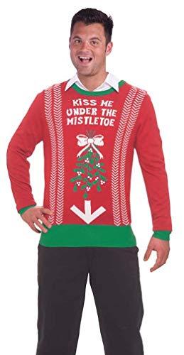 Feliz Halloween Para Hombres (Forum Novelties Men's Under Mistletoe Novelty Christmas Sweater, Red/Green,)
