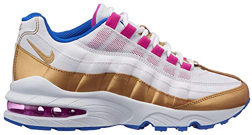 Nike Air Max '95 LE GS White/Racer Blue/Fuchsia Blast/Metallic Gold 310830-120 (Size: - Kids Little Apparel Fuchsia