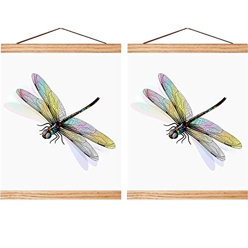 Magnetic Poster Hanger Wooden Poster Hanger Frame DIY Artwork Hanger for Photo Picture Artwork Supplies(12 Inch, 2 Sets)