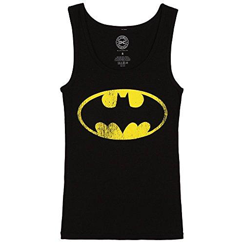 DC Comics Batman Distressed Logo Juniors Tank Top - Black (Large)