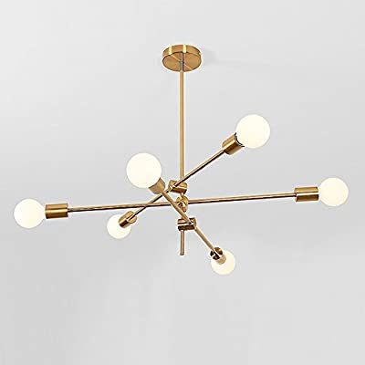 YOKA Modern Metal Chandelier Ceiling Pendant Lighting Fixture Hanging Lamp Flush Mount With 6 Lights Gold Finish