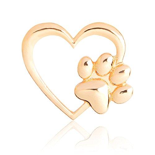 MUZHE Cute Hollow Love Dog Paw Cat Claw Brooch Pin for Boy Girls (Gold) (Brooch Claw)