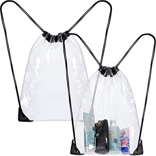- PAMASE 2 pcs Clear Plastic Drawstring Backpacks Waterproof Transparent PVC Bags for Gym Stadium Concert Events