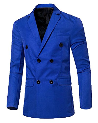 [Verescha Mens Slim Fit Solid Button Closure Casual Blazers Suit Sapphire BlueUS-XSmall-(China] (Morph Suite)