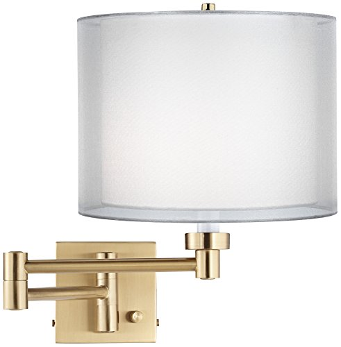 Double Sheer Alta Square Antique Brass Swing Arm (Sconce Double Transitional Wall)