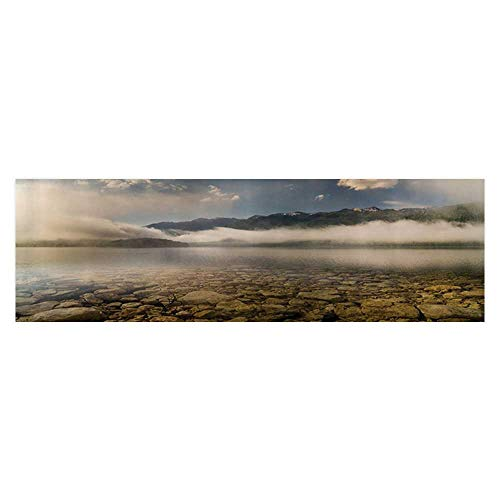 (Auraise Heybee Fish Tank Background eAlpine Lake with Stes Rocks in Crystal Water with Mist Fog Clouds Wallpaper Fish Tank Backdrop Static Cling 23.6