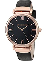 Anne Klein Womens AK/2666RGBK Swarovski Crystal Accented Rose Gold-Tone and Black Leather Strap Watch