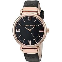 Anne Klein Women's AK/2666RGBK Swarovski Crystal Accented Rose Gold-Tone and Black Leather Strap Watch