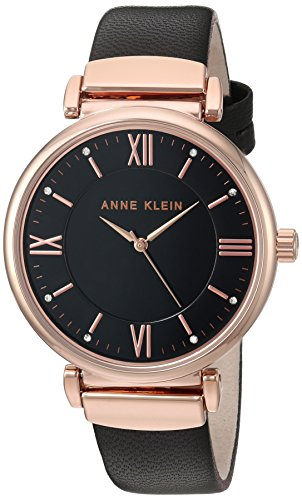 (Anne Klein Women's AK/2666RGBK Swarovski Crystal Accented Rose Gold-Tone and Black Leather Strap Watch)