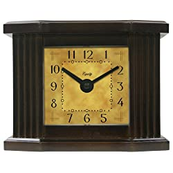 Equity by La Crosse 25112  6 Inch Natural Dark Wood Grain Mantel Clock