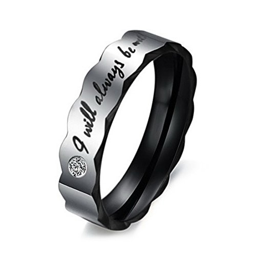 Men's Wide 6mm Stainless Steel Ring Band CZ Black Silver Valentine Love Couples Wedding Engagement Promise Size8