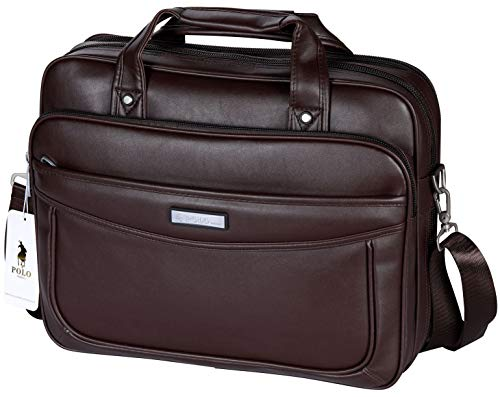 VIDENG Leather Business Briefcase,Extended 15.6 inch Laptop Bag,Large Capacity Shoulder Bags Travel Handbag for Mens and Womens (Deep ()