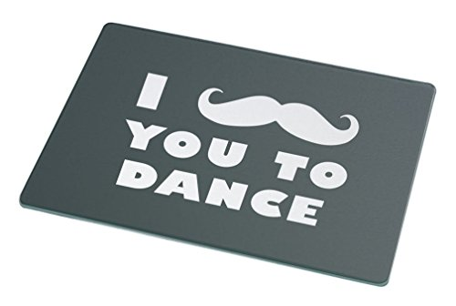 Rikki Knight I Mustache You To Dance Green Color Large Glass Cutting Board by Rikki Knight