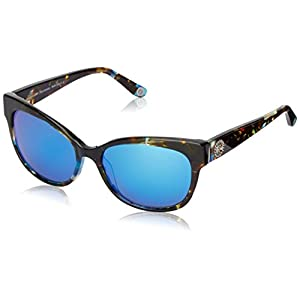 Juicy Couture Women's Ju577s Oval Sunglasses, Tortoise Turquoise Navy/Gray Blue Mirror, 57 mm