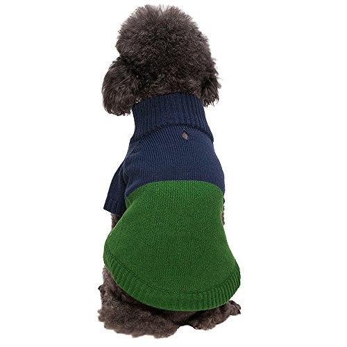 Blueberry Pet Classic Colorblock Dog Sweater in Midnight Blue and Sea Green, Back Length 16