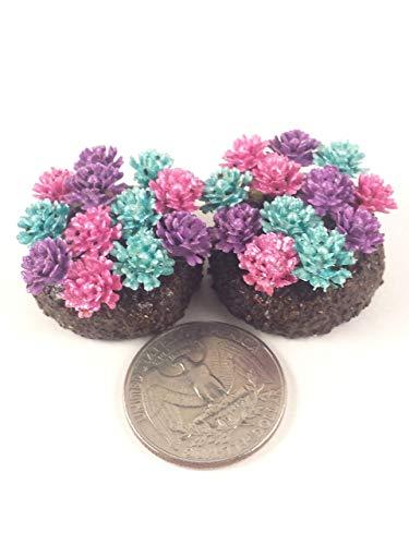 Fairy garden accessories. Miniature flower beds. Set of 2. Pink, purple, and blue flowers. Dollhouse, terrarium décor. ()