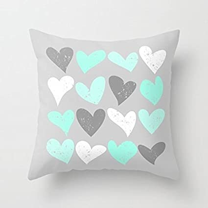 Corazón decorativo de funda de almohada verde menta blanco ...