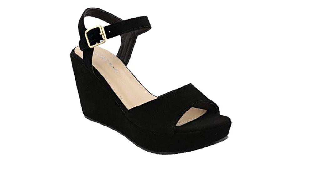 Top Moda Coach-1 Platform Wedge Fashion Open Toe Sandals with Ankle Strap (6.5, Black)