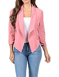 Womens Casual Lightweight 3/4 Sleeve Fitted Open Blazer