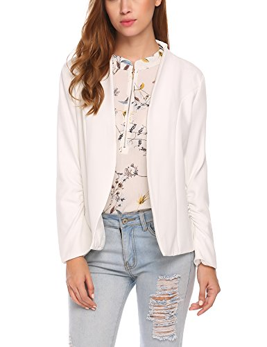 Zeagoo Women 3/4 Sleeve Blazer Open Front Cardigan Jacket Work Office Blazer White L