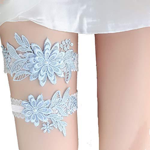 Wedding Prom Garter - Lace Garter Set Wedding Garter Belt Flower Floral Design Garter for Bride
