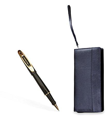 Pierre Cardin Discovery Roller pen & Full Zip Passport & Ticket Holder Set