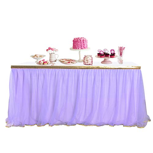 9ft Purple Table Skirt Gold Trim Tulle Table Tutu Skirts for Rectangle or Round Tables Table Cloth for Wedding Baby Shower -