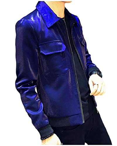 Blue Jacket Coats Zip Shiny Down Casual Mens AngelSpace Up Turn Loose Collar 7fwPUvqxz