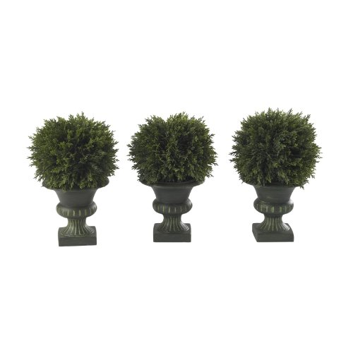 Nearly Natural 4761 Cedar Ball Topiary, 9-Inch, Green/Black, Set of 3 (Topiary Ball 3)