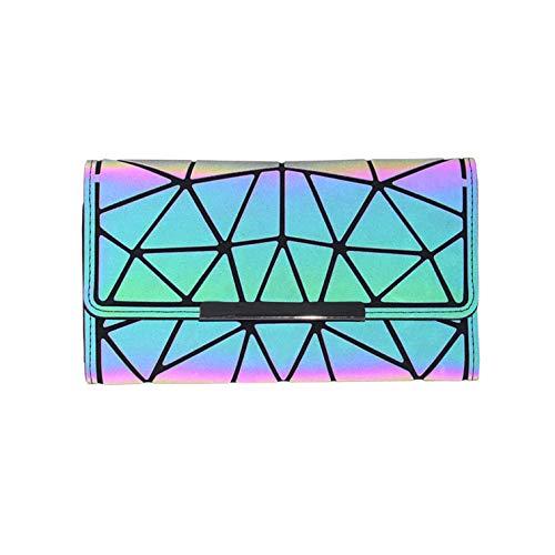 - Geometric Rhomboids Lattice Long Wallet and Purse - Fashion Luminous Trifold Lattice Purse Clutch for Women NO.2