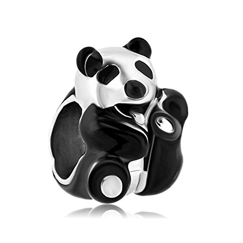LovelyJewelry Lovely Chinese Panda Charms Lucky Cute Black White Chinese Panda Beads For Bracelets